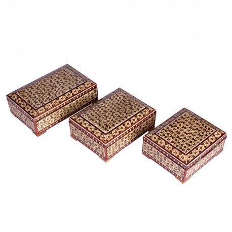 جعبه جواهرات خاتم کاری سری سه تایی