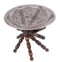 میز سنتی قلمزنی مشبک قطر 50 سانتیمتر پایه چوبی