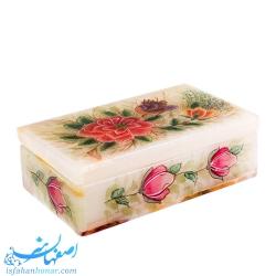 جعبه سنگ مرمر طرح گل و مرغ 7×12سانتیمتری