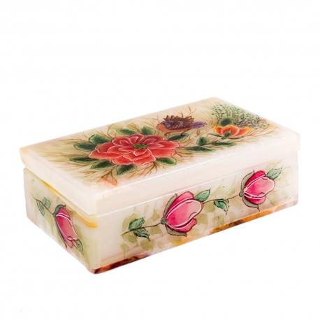 جعبه سنگ مرمر طرح گل و مرغ 12 سانتیمتری