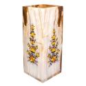 گلدان رومیزی سنگ مرمر نقاشی گل و مرغ 20 سانتیمتری
