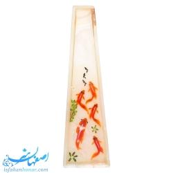 گلدان آویز سنگ مرمر با نقاشی ماهی سه بعدی