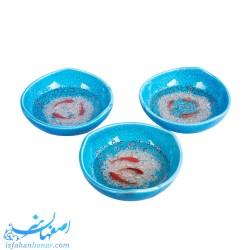 خرید کاسه سفالی فیروزه ای ماهی قرمز نقاشی