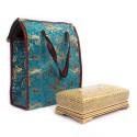 جعبه دستمال کاغذی چوبی خاتم با ساک ترمه -33