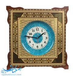 ساعت میناکاری با قاب خاتم مربعی 43 سانتیمتری