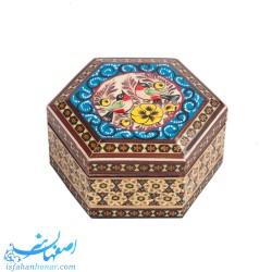 جعبه شش گوش خاتم کاری با نقاشی گل و مرغ