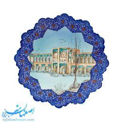 بشقاب میناکاری 25 سانتیمتری نقاشی پل خواجوی اصفهان