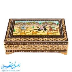 جعبه جواهرات خاتم با نقاشی شکار22×14 سانتیمتری