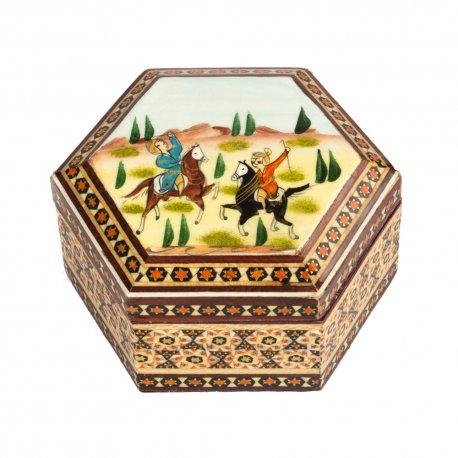 جعبه چوبی نقاشی شکار