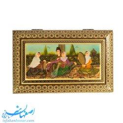 جعبه نفیس تمام خاتم نقاشی ابعاد 22×14 سانتیمتر