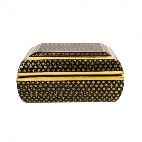 جعبه جواهرات چوبی تمام خاتم 12×10 سانتیمتری
