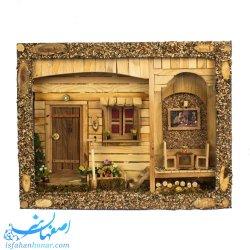 تابلوی چوبی سه بعدی خانه قدیمی چراغ دار
