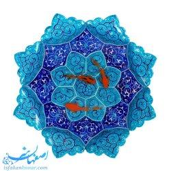 ماهی قرمز نقاشی سه بعدی روی بشقاب میناکاری