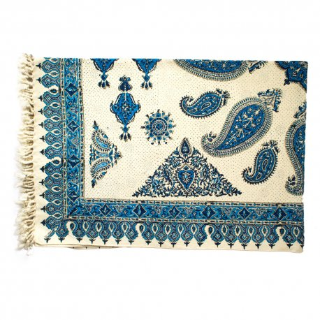 رومیزی قلمکار سنتی طرح ترنج آبی