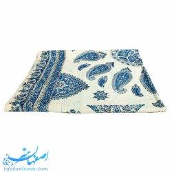 سفره قلمکار سنتی طرح بته سرکج آبی 135×200 سانتیمتری