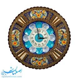 ساعت گرد مینا با قاب چوبی خاتم نقاشی قطر 43 سانتیمتر