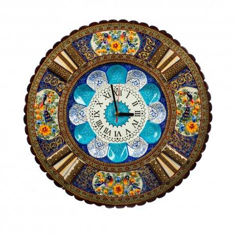 ساعت میناکاری با قاب نقاشی گل و مرغ