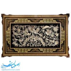 قاب دیواری قلمزنی گل و مرغ ابعاد 83×53 سانتیمتر