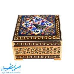 جعبه جواهرات مربعی خاتم 10 سانتیمتری نقاشی گل و مرغ