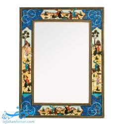 قاب آینه چوبی خاتم با نقاشی بازی چوگان