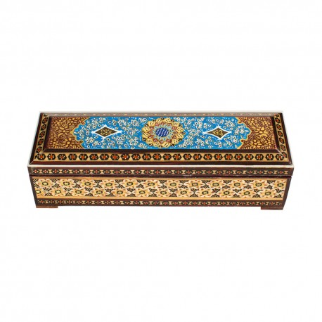 جعبه چوبی خاتم با نقاشی تذهیب