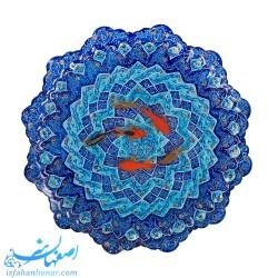 تابلوی ماهی قرمز نقاشی سه بعدی روی بشقاب میناکاری