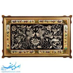 تابلوی دیواری قلمزنی با قاب خاتم نقاشی ابعاد 105 × 65 سانتیمتر