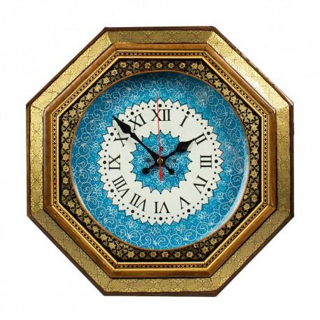 ساعت میناکاری با قاب چوبی خاتم
