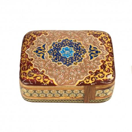 جعبه جواهرات خاتم کاری با نقاشی تذهیب