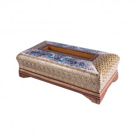 جعبه دستمال کاغذی خاتم نقاشی گل و مرغ آبی