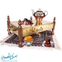 سماور ذغالی ایرانی برنجی چهارگوش