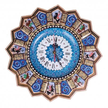 ساعت خاتم کاری با نقاشی مینیاتور شکار 36 سانتیمتری
