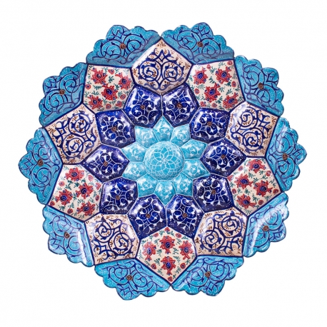 بشقاب مسی میناکاری20 سانتیمتری نقاشی اسلیمی