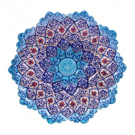 بشقاب میناکاری 20 سانتیمتری با نقاشی خانم امیری