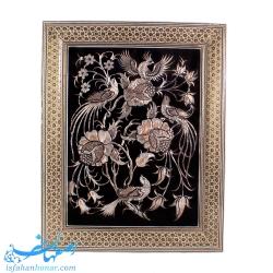 تابلوی قلمزنی گل و مرغ 40×30 سانتیمتری