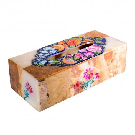 جعبه دستمال کاغذی سنگی با نگارگری گل و مرغ