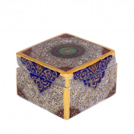 جعبه مربعی 6 سانتیمتری سنگ مرمر با نقاشی تذهیب