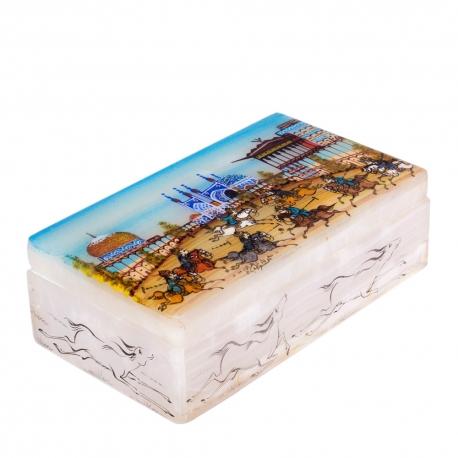 جعبه جواهرات سنگی 12سانتیمتری با نقاشی بازی چوگان