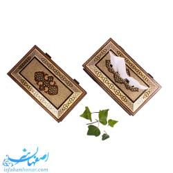 جعبه کارد و چنگال و دستمال کاغذی چوبی دست ساز ایرانی