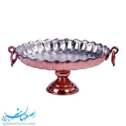 شیرینی خوری گوشواره دار مسی قطر 24 سانتیمتر