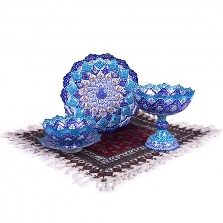 ست ظروف تزیینی نقاشی میناکاری صنایع دستی