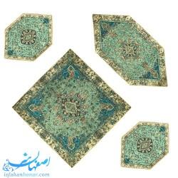 ست چهار تکه رومیزی سنتی ترمه پنج رنگ