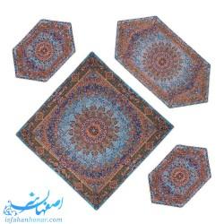 سری چهار تکه رومیزی ترمه ابریشمی