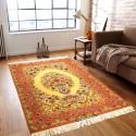 فرش ذرع و نیم دستباف کوچک اصفهان نقش گلدانی ابعاد 163×110 سانتیمتر