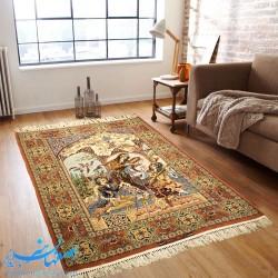 فرش دستباف مینیاتور سه چهره شاه عباسی ابعاد 163×110 سانتیمتر