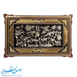 تابلوی مسی قلمزنی 60×30 سانتیمتری با قاب چوبی خاتم کاری صلیبی