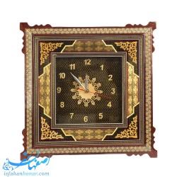 ساعت دیواری چوبی خاتم کاری ایرانی 48 سانتیمتری