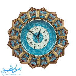 ساعت مینا با قاب خاتم نقاشی تذهیب 43 سانتیمتری