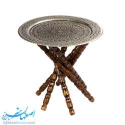 میز مسی قلمزنی قطر 40 سانتیمتر با پایه چوبی