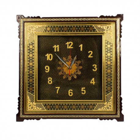 Persian wooden handicraft wall clock